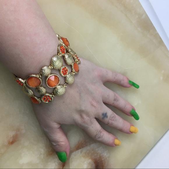Orange textured gold bling stretch bracelet